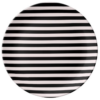 Thin Stripes - Black and Pale Pink Plate