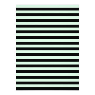 Thin Stripes - Black and Pastel Green 14 Cm X 19 Cm Invitation Card
