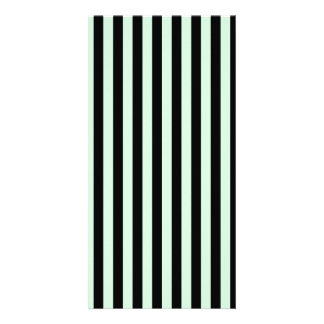 Thin Stripes - Black and Pastel Green Customized Photo Card