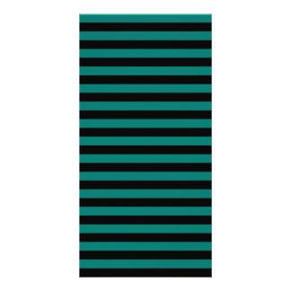 Thin Stripes - Black and Pine Green Custom Photo Card