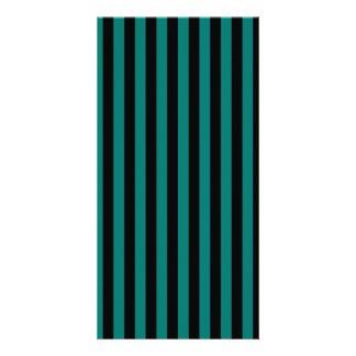 Thin Stripes - Black and Pine Green Customised Photo Card