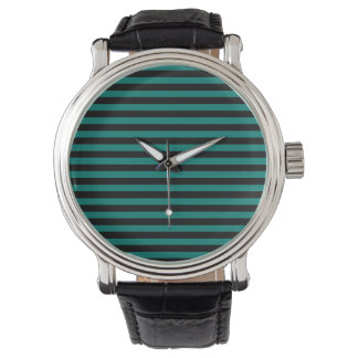 Thin Stripes - Black and Pine Green Wrist Watch