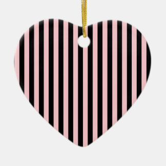 Thin Stripes - Black and Pink Ceramic Heart Decoration