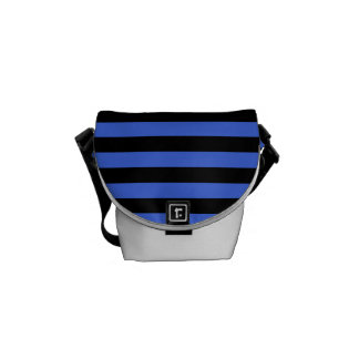 Thin Stripes - Black and Royal Blue Commuter Bags