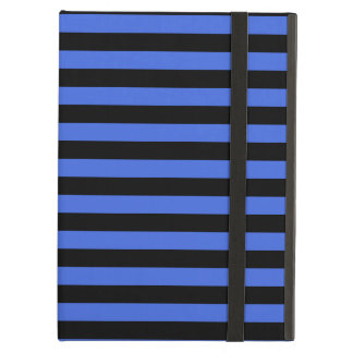 Thin Stripes - Black and Royal Blue iPad Air Cover