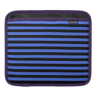 Thin Stripes - Black and Royal Blue iPad Sleeve