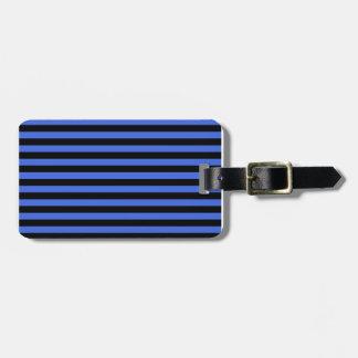 Thin Stripes - Black and Royal Blue Luggage Tag
