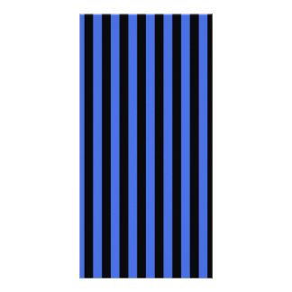 Thin Stripes - Black and Royal Blue Photo Card Template