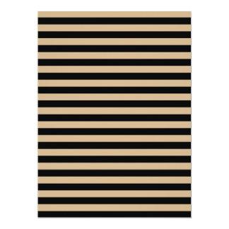 Thin Stripes - Black and Tan 17 Cm X 22 Cm Invitation Card