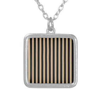 Thin Stripes - Black and Tan Silver Plated Necklace