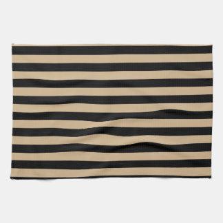 Thin Stripes - Black and Tan Tea Towel