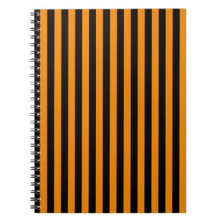 Thin Stripes - Black and Tangerine Notebooks