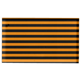 Thin Stripes - Black and Tangerine Table Card Holder