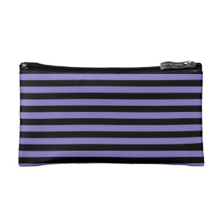 Thin Stripes - Black and Ube Makeup Bag