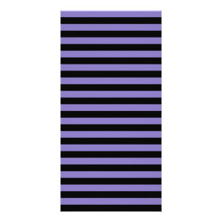Thin Stripes - Black and Ube Personalized Photo Card