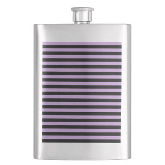 Thin Stripes - Black and Wisteria Hip Flask