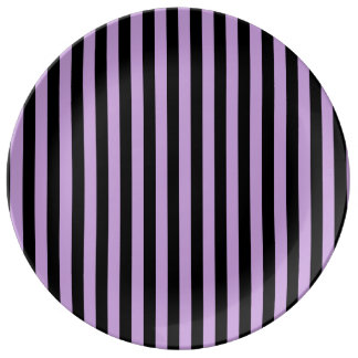 Thin Stripes - Black and Wisteria Plate