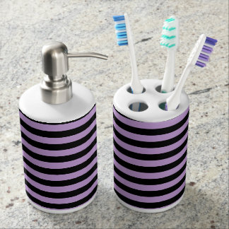 Thin Stripes - Black and Wisteria Soap Dispenser And Toothbrush Holder