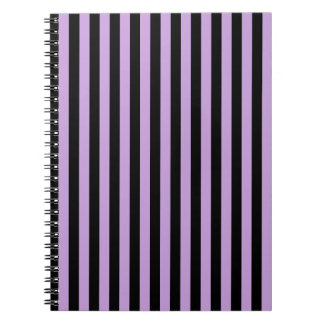Thin Stripes - Black and Wisteria Spiral Notebook