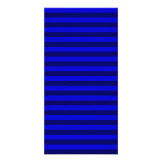 Thin Stripes - Blue and Dark Blue Photo Card Template
