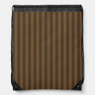 Thin Stripes - Brown and Dark Brown Drawstring Bag