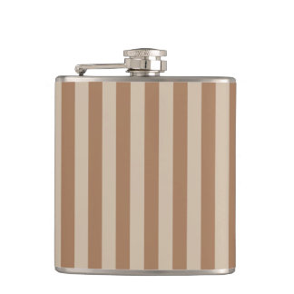 Thin Stripes - Brown and Light Brown Hip Flask