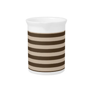 Thin Stripes - Light Brown and Dark Brown Beverage Pitchers