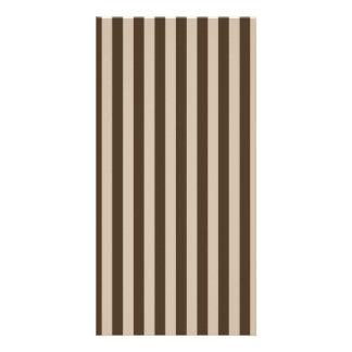 Thin Stripes - Light Brown and Dark Brown Custom Photo Card