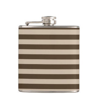 Thin Stripes - Light Brown and Dark Brown Hip Flask