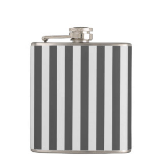 Thin Stripes - Light Gray and Dark Gray Hip Flask