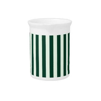 Thin Stripes - Light Green and Dark Green Beverage Pitcher