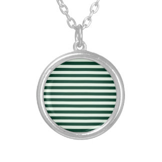 Thin Stripes - Light Green and Dark Green Silver Plated Necklace