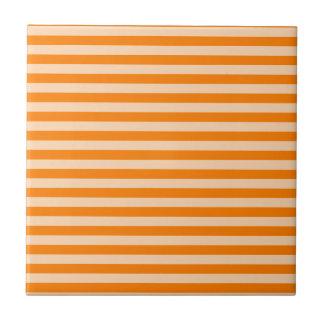 Thin Stripes - Light Orange and Dark Orange Ceramic Tile