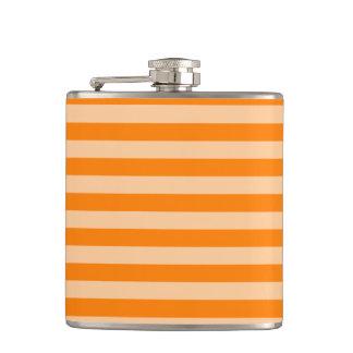 Thin Stripes - Light Orange and Dark Orange Hip Flask