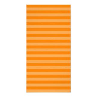 Thin Stripes - Orange and Dark Orange Customized Photo Card