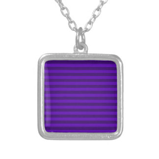 Thin Stripes - Violet and Dark Violet Silver Plated Necklace