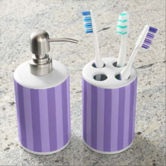 Thin Stripes - Violet and Light Violet Soap Dispenser And Toothbrush Holder