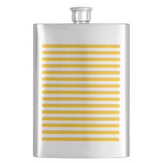 Thin Stripes - White and Amber Hip Flask