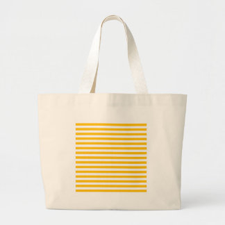 Thin Stripes - White and Amber Large Tote Bag
