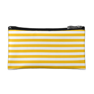 Thin Stripes - White and Amber Makeup Bag