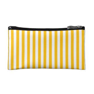 Thin Stripes - White and Amber Makeup Bag