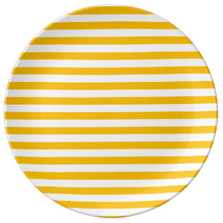 Thin Stripes - White and Amber Porcelain Plates