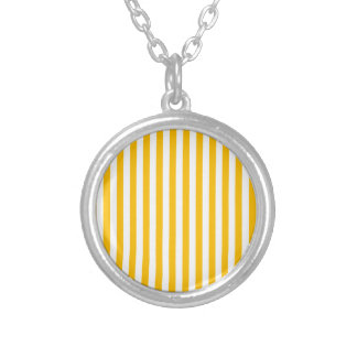 Thin Stripes - White and Amber Silver Plated Necklace