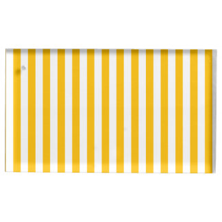 Thin Stripes - White and Amber Table Card Holders