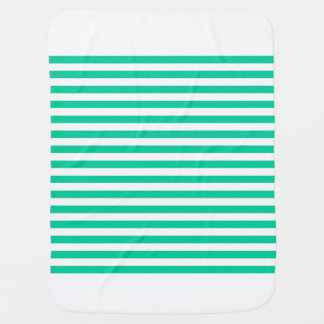 Thin Stripes - White and Caribbean Green Baby Blanket