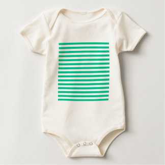 Thin Stripes - White and Caribbean Green Baby Bodysuit
