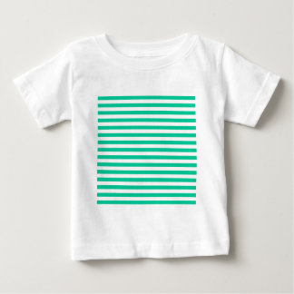 Thin Stripes - White and Caribbean Green Baby T-Shirt