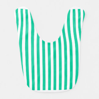 Thin Stripes - White and Caribbean Green Bib