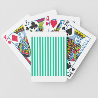 Thin Stripes - White and Caribbean Green Bicycle Playing Cards