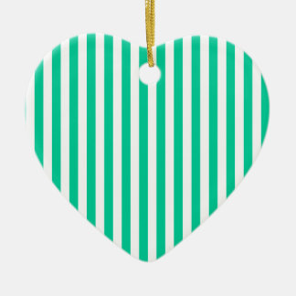 Thin Stripes - White and Caribbean Green Ceramic Ornament